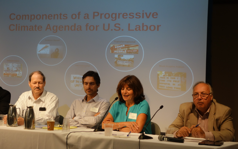 Judy Sheridan-Gonzalez (President, NYSNA) describes how her union has engaged members through climate education and mobilization while (from left) Bruce Hamilton (Vice President, ATU), Fernando Losada (Collective Bargaining Director, NNU), and Christopher Erikson (Business Manager, IBEW Local 3) join her in insisting on the need for the U.S. labor movement to take the lead in the struggle to stop climate change.